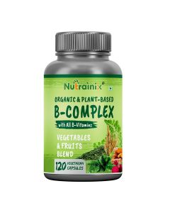 Nutrainix Certified Organic & Plant-Based B Complex Vitamin with Biotin, B1, B2, B3, B12 for Immunity, Hair & Metabolism- 120 Vegetarian Capsules