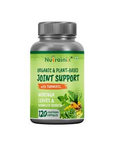 Nutrainix Certified Organic & Plant-Based Joint Support with Turmeric, Moringa, Boswellia Serrata for Joint Pain - 120 Vegetarian Capsules
