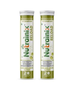 Nutrainix Reload Electrolytes Energy Drink and Instant Hydration Sports Drink - 40 Effervescent Tablets - Flavor (Lime & Lemon)