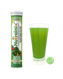Nutrainix Super Greens, Wholefood Multivitamin for Immunity and Detox with 39+ Organic Certified Plant Superfoods and Antioxidant Supplements - 20 Effervescent Tablets- Fresh Lime Natural Flavour