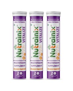 Nutrainix Vitalize Multivitamin Supplement - One Daily - 21 Vitamins and Minerals - Natural Beetroot Extract for Men and Women - 60 Effervescent Tablets - Orange Flavour