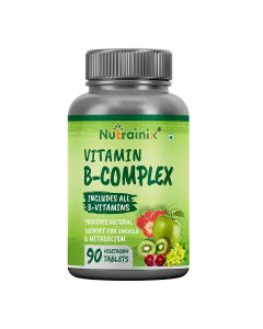 Nutrainix Vitamin B-Complex with Vitamin C | Biotin | Choline | Folic Acid | Inositol | Improves Eyesight | Supports Growth of Red Blood Cells - 90 Vegetarian Tablets