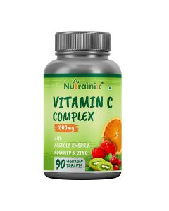 Nutrainix Vitamin C-Complex 1000mg Plant Based from Acerola Cherry with Rosehip | Zinc | Works as Powerful Antioxidant | Boosts Immune System - 90 Vegetarian Tablets
