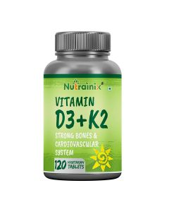 Nutrainix Vitamin D3 5000iu with K2 as MK7 100mcg supplement - 120 Vegetarian Tablets