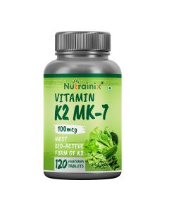 Nutrainix Vitamin K2 MK7 100mcg Supplement | Light & Mineral Stable, High Potency Vitamin K2 as MK7 Supports Healthy Heart | Stronger Bones & Teeth – 120 Vegetarian Tablets