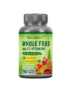 Nutrainix Whole Food Multivitamin for Men & Women with 50 Vital Nutrients, 12 Performance Blends, Natural Vitamins, Minerals | Natural Energy Support - 90 Vegetarian Tablets