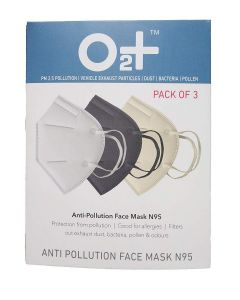 O2+ Anti Pollution Mask With N95 Active Carbon Grade Filter With One Valve (Pack of 3)