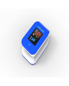 OXYGIZE Fingertip Pulse Oximeter with Bluetooth, Oxygen Saturation Monitor (Including Batteries and Lanyard)[Blue, Small]