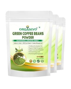 Organivo Natural Green Coffee Beans Powder with Lime Flavour 200 gms, Pack of 2