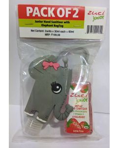 Zuci Pack of 2 Junior Hand Sanitizer with Elephant bag tag - 30ml*2=60ml