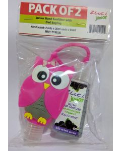 Zuci Pack of 2 Junior Hand Sanitizer with Owl bag tag - 30ml*2=60ml