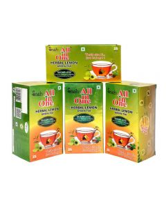 All in One Herbal Lemon  Green Tea Sugar - Less(100 Tea Bag ) Pack Of 4