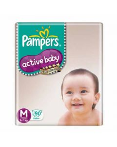 Pampers Active Baby Diaper - Medium 90pcs Pouch