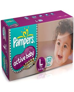 Pampers Active Baby Diapers - Large (9-14 kg) 50pcs Pouch