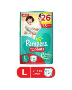 Pampers Dry Pants Large 2pcs Pouch