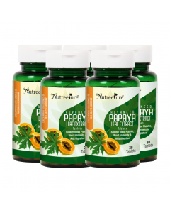 Nutree Pure Advanced Papaya Leaf Extract 1100 mg with Goodness of Tulsi & Giloy (Natural Immunity Booster & Platelet Enhancer) - 30 Tabs (Pack of 5)