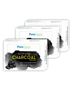 PuraGenic Activated Charcoal Bath Soap - 75gm (Pack of 3)