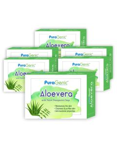 PuraGenic Aloevera with Neem Transparent Soap - 75gm (Pack of 6)
