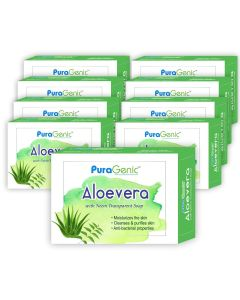 PuraGenic Aloevera with Neem Transparent Soap - 75gm (Pack of 9)