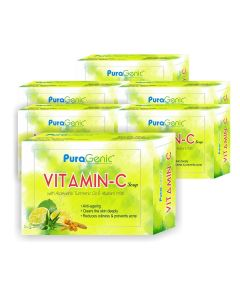 PuraGenic Vitamin C Soap with Aloe vera, Turmeric and Multani Mitti - 75gm (Pack of 6)
