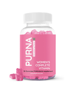 Purna Gummies Complete Beauty Multivitamin Strawberry Gummies for Women (Vitamins A, C, D, E, B12 and 8 Minerals for Clear Skin, Immunity), 30 Day Pack, 1 Daily