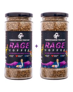 Rage Coffee Original Blend - Premium Arabica Instant Coffee Crystals Infused with Natural Vitamins - 200 GMS