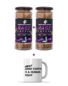 Rage Coffee Premium Arabica Instant Coffee 100 GMS Crystals Infused with Natural Vitamins - Pack of 2 & Free Coffee Mug