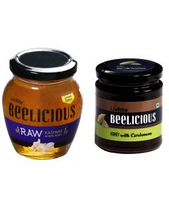 Beelicious RAW Kashmir Acacia Honey - 250 gms & Honey with Cardamom - 250 gms
