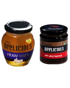 Beelicious RAW Kashmir Acacia Honey - 250 gms & Honey with Cinnamon - 250 gms