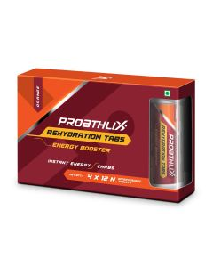 Proathlix Instant Energy Rehydration Tablets Pack Of 4, Electrolyte Sports Drink , Orange Flavour (12 tablets Each Tube)