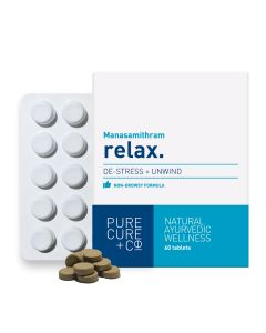 PURECURE+CO Relax Natural Stress Relief, Ayurvedic Manasamithram 250 Mg - 60 Tablets