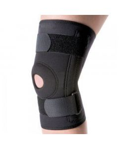 Kudize Functional Knee Support Compression muscle Joint Protection Gym Wrap Open Patella Hinge Brace Support Black (Medium)