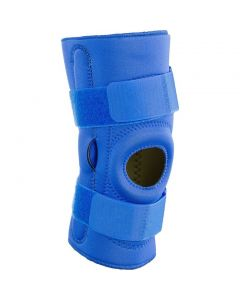 Kudize Functional Knee Support Compression muscle Joint Protection Gym Wrap Open Patella Hinge Brace Support Blue (Large)
