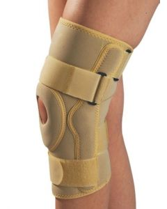 Kudize Functional Knee Stabilizer Knee Support Compression muscle Joint Protection Gym Wrap Open Patella Hinge Brace Support Beige.(Large)