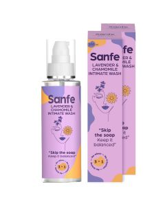 Sanfe Natural Intimate Wash - 3 in 1  No Odour - No Itching - No Irritation Lavender & Chamomile - 100ml