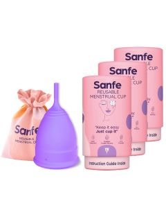 Sanfe Reusable Menstrual Cup with No Rashes - Leakage Or Odor Premium Design for Women Medium (Pack of 2)