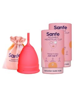 Sanfe Reusable Menstrual Cup with No Rashes - Leakage Or Odor Premium Design for Women Medium