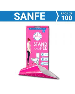 Sanfe Stand and Pee For Women (8 x 10 units) Disposable Female Urination Device (Pink - Pack of 80)