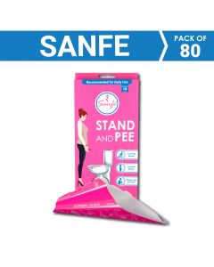 Sanfe Stand and Pee For Women (8 x 10 units) Disposable Female Urination Device (Pink - Pack of 60)