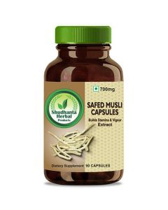 Shudhanta Herbal 100% Safed Musli Capsules 700mg For Improving Sexual Performance - 90 Herbal Vegetarian Capsules