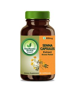 Shudhanta Herbal 100% Senna Capsules 800mg For Help Weight Loss and Constipation - 90 Herbal Vegetarian Capsules