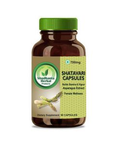 Shudhanta Herbal 100% Shatavari Capsules 700mg For Improving Female Reproductive Health And Boosts Milk Production During Breast Feeding - 90 Herbal Vegetarian Capsules