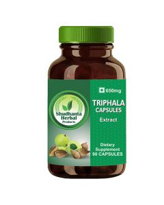 Shudhanta Herbal 100% Triphala 650mg Extract Capsules - 90 Vegetarian Herbal Capsules