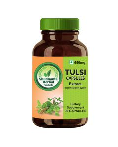 Shudhanta Herbal 100% Tulsi Capsules 650mg For Strengthen The Stomach And help Kidney Stone - 90 Herbal Vegetarian Capsules
