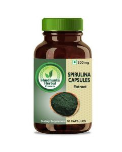 Shudhanta Herbal 100% Spirulina Capsules 800mg For Improves Symptoms of Allergic Rhinitis And Reduce Blood Pressure - 90 Herbal Vegetarian Capsules