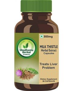 Shudhanta Herbal 100% Milk Thistle Capsules 800mg for Liver Cleanse and Detox Supplement - 90 Herbal Vegetarian Capsules