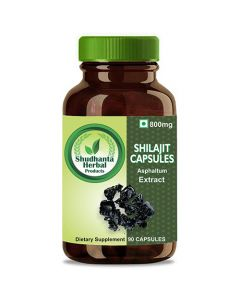 Shudhanta Herbal 100% Shilajit Capsule 800mg for Increase Testosterone and Heart Health - 90 Herbal Vegetarian Capsules