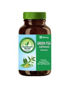 Shudhanta Herbal 100% Green Tea 800mg Capsules for Improved Brain Function  - 90 Herbal Vegetarian Capsules