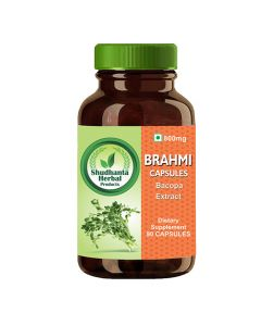 Shudhanta Herbal 100% Brahmi Capsules 800mg for Reduces Stress and Balance Immunity System - 90 Herbal Vegetarian Capsules