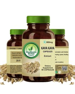 Shudhanta Herbal 100% Kava-Kava Capsules - 90 Herbal Vegetarian Capsules